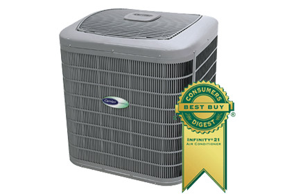 Carrier Air Conditioner With Consumer's Digest Best Buy Ribbon.